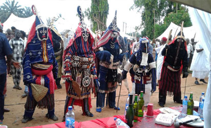 *The masquerades displaying during the Agwu Festival at Nri