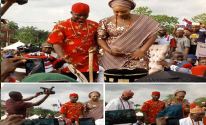 "•Uche Nwosu and his wife after being presented with the Chieftancy title of ""Ugwumba Oha Nile"""