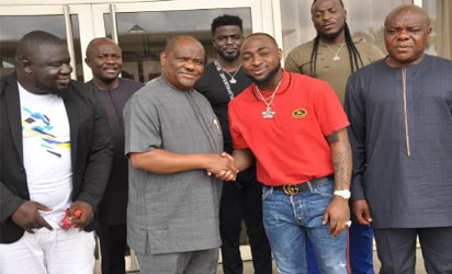 Rivers State Governor, Nyesom Ezenwo Wike (l) and Mega-Star Musician, David Adeleke (Davido) during Davido's visit to Governor Wike  at the Government House Port Harcourt last Friday.