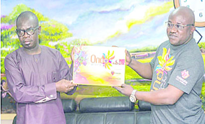 •Ondo State Deputy Governor, Hon. Agboola Ajayi and the CEO, Oshodi Art & Gallery, Mr Sheyi Oshodi at the presentation of Ondo Arts Festival 2018 logo to the state government at the Governor's office in Akure.