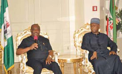 Rivers State Governor, Nyesom Ezenwo Wike with Senate President Bukola Saraki at the Government House Port Harcourt during a condolence visit by the Senate President over the death of the Attorney General of Rivers State, Late Emmanuel Aguma (SAN).