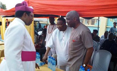 •Archbishop Chukwuma with former Governor Jim Nwobodo