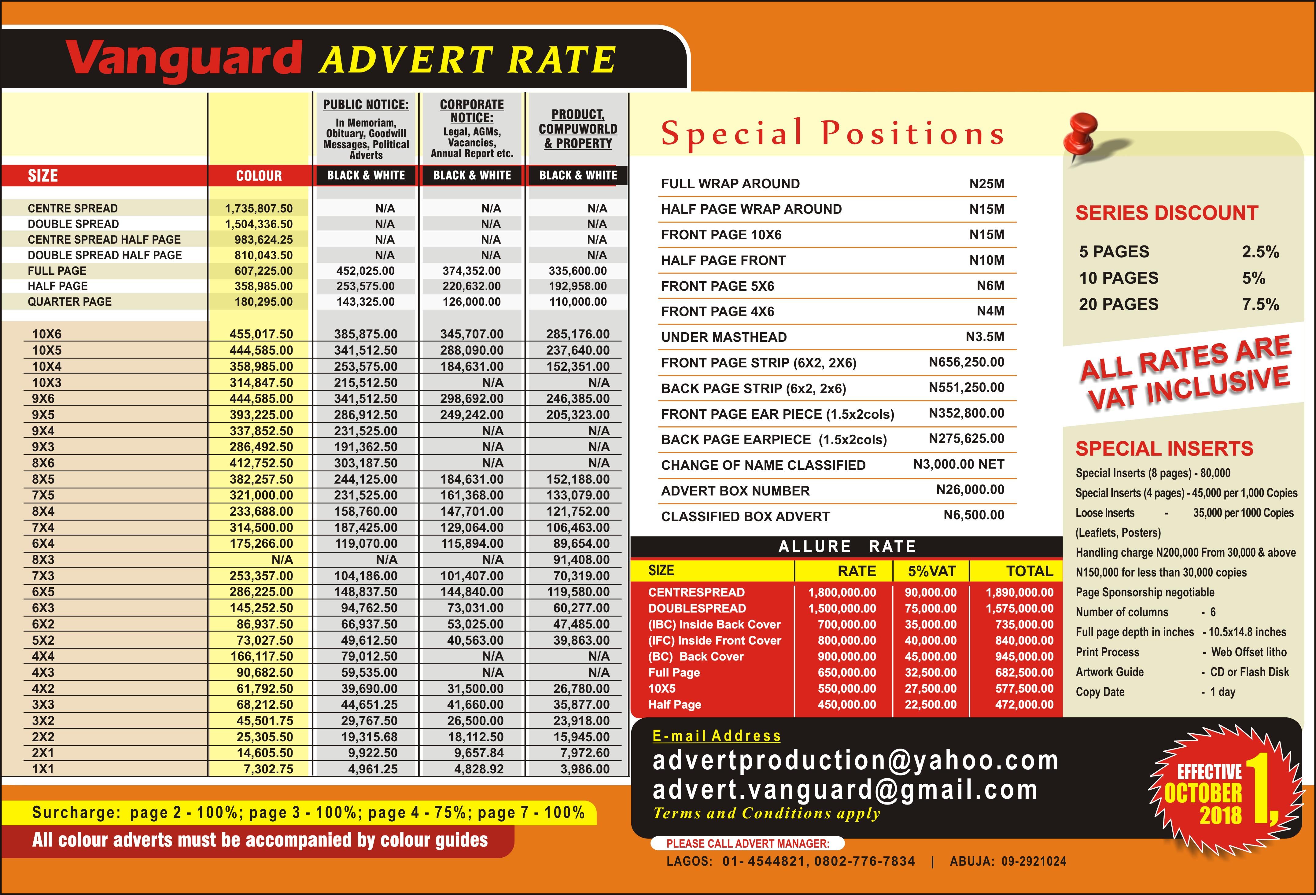 New Advert Rates (Print) Effective October 1 2018