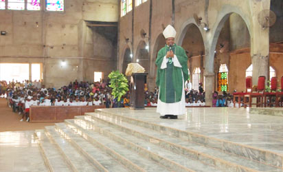 Catholic Bishop of Nsukka Diocese, Most Rev. Godfrey Igwebuike Onah giving sermon during the event