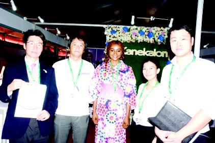 L-R: Shigeyo Nishizawa, trade commisioner/MD, JETRO Lagos; Sukesh Shetty; Sudeep Sankurantri; Dinesh Bhambhani, and Jayesh Rao, all of Panasonic at the Lagos International Trade Fair 2018.