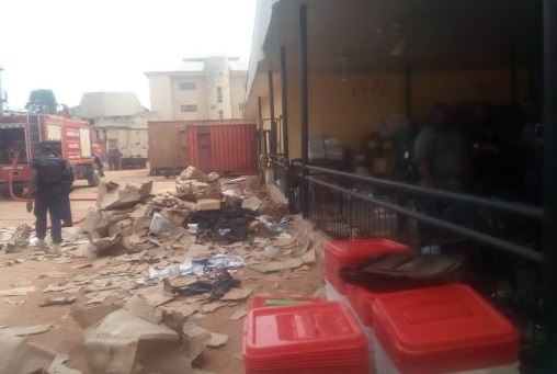 Breaking: Fire guts container carrying INEC card readers in Anambra 4