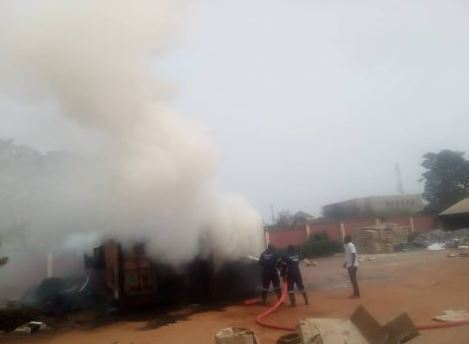 Breaking: Fire guts container carrying INEC card readers in Anambra 2