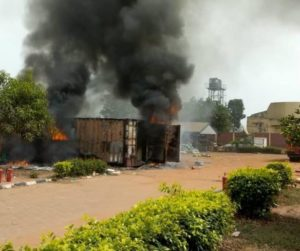 Photos: INEC card readers on fire in Anambra, officials flee 2