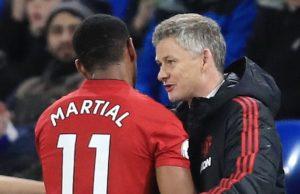 Manchester United Martial and Solskjaer