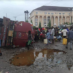 Residents in Imo, fall on each other to scoop Kerosene from a fallen tanker