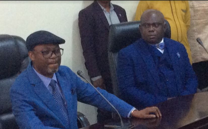 Vice Chancellor, University of Port Harcourt, Prof Ndowa Lale (L) and Apostle Chibuzor Chiyeren, founder, Omega Power Ministry, who is Uniport for the varsity's maiden Conference Series in his honour on his humanitarian and church contribution to societal growth.