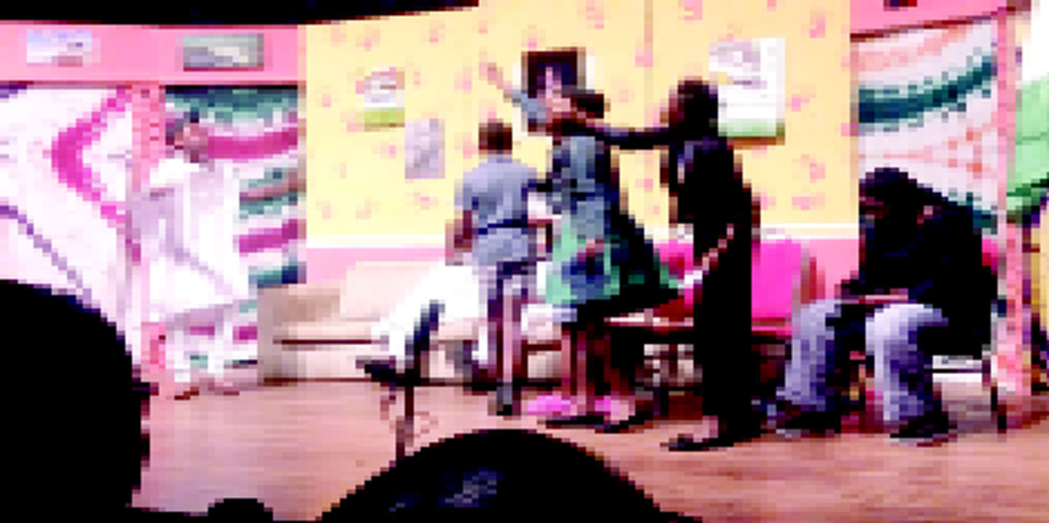 •The Childville students performing Ola Rotimi's 'Our Husband Has Gone Mad Again' at MUSON stage.