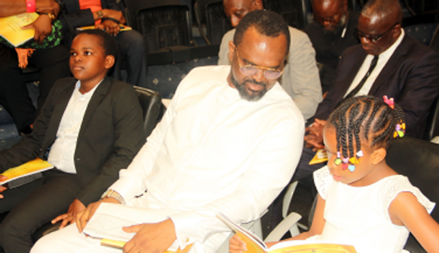 From left— Son of the deceased, Merede; the widower, Mr. Leslie Oghomienor, and daughter, Ajua, at the funeral service for late Mrs Yetunde Alatede Oghomienor(nee Ogunsola), at the Guiding Light Assembly, Parkview Estate, Lagos, yesterday. Photos: Kehinde Shonola.