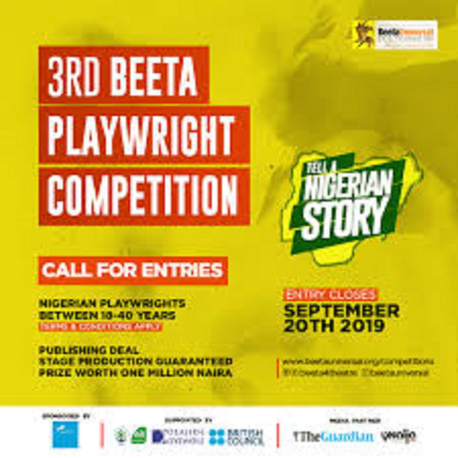 3rd Beeta Playwright Competition entries close September 30