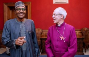 President Buhari with The Most Revd and Rt Hon Justin Welby, the Archbishop of Canterbury, at the Lambeth Palace, London