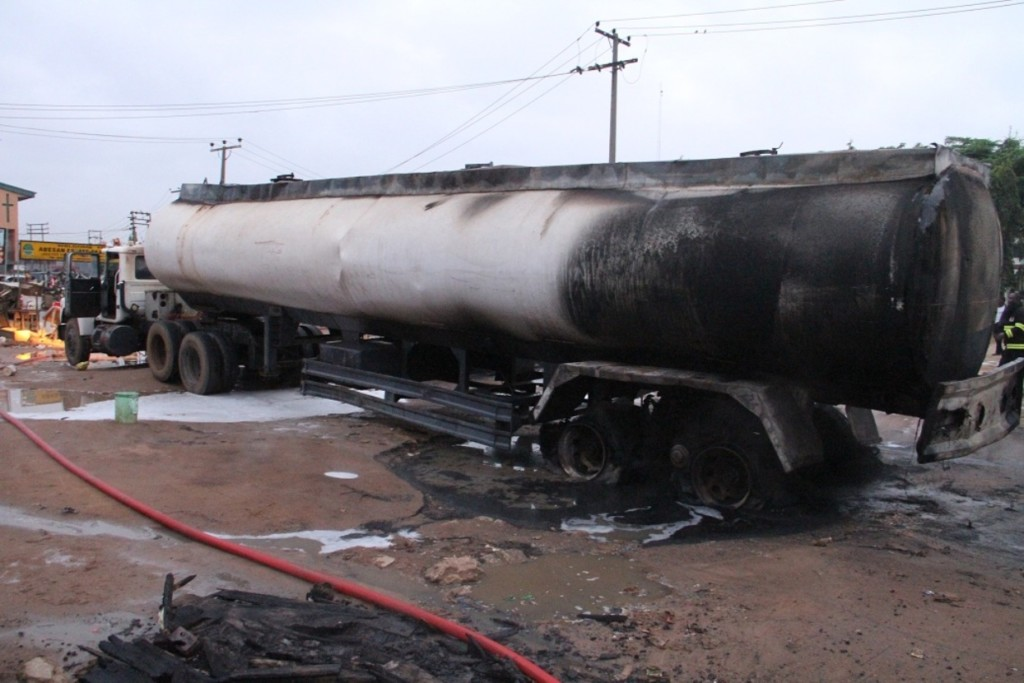 Driver missing as tanker explodes in Lagos