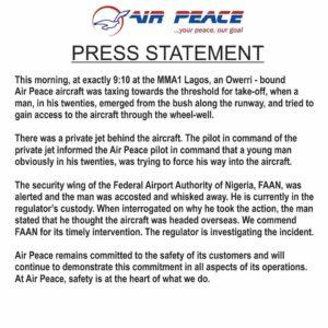 Air Peace Press Release