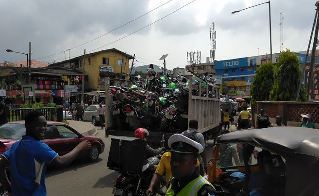 Photos: Impounded Opay bikes seen in Lagos police station