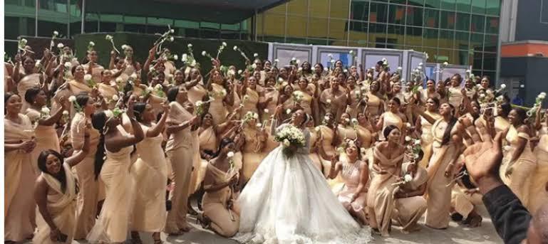 Photos: Sandra Ikeji shuts down Lagos with 200 bridesmaid at her wedding