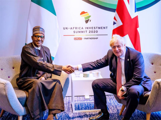 Buhari shakes hand with Boris Johnson, lists achievements so far