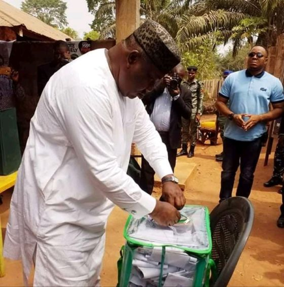 Ugwuanyi casting his vote at his Amube ward, Udenu Local Government Area of Enugu State.