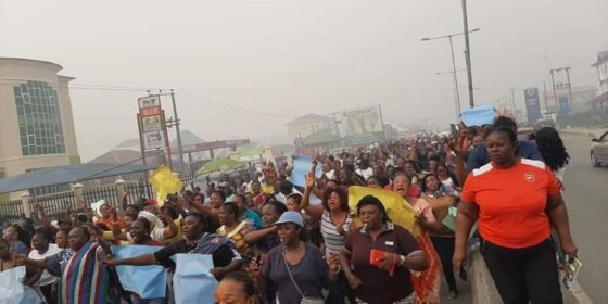 (Breaking) Bayelsa: Thousands protest over Supreme Court's ruling