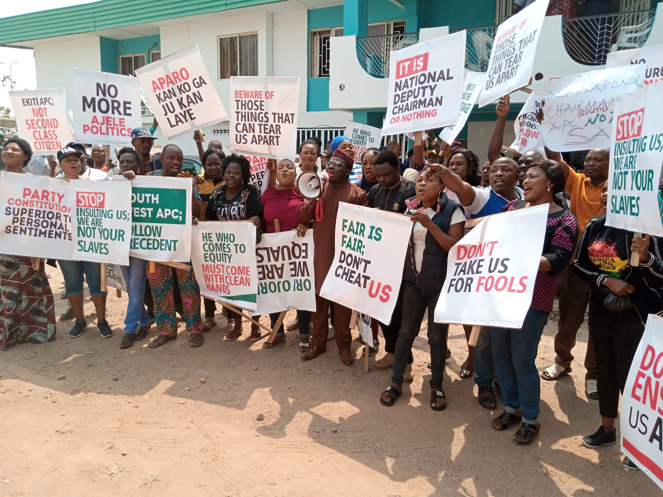 Ekiti APC members protest alleged plot to zone NDC to Oyo at South-West zonal meeting