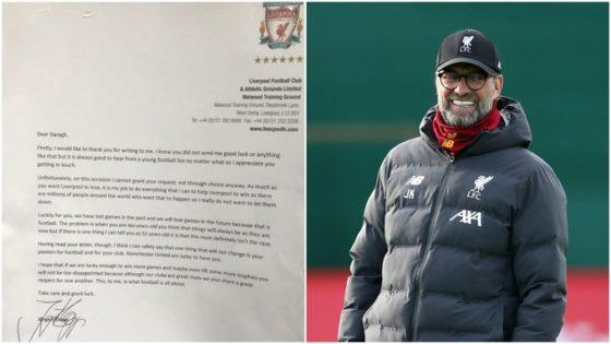Klopp writes to 'cheeky' Man Utd fan who wants Liverpool to lose