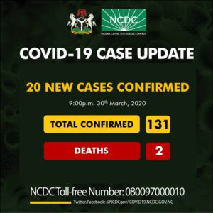 Coronavirus confirmed cases: Lagos 13, FCT 4, Kaduna 2, Oyo 1