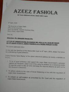 Naira Marley letter of undertaking