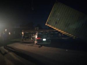 Fallen container laden truck kills one in multiple auto-crash in Lagos