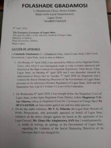 Folashade Gbadamosi's apology letter