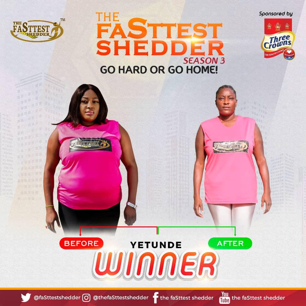 Yetunde Bajomo, emerge as winner of fasttest shedder season 3