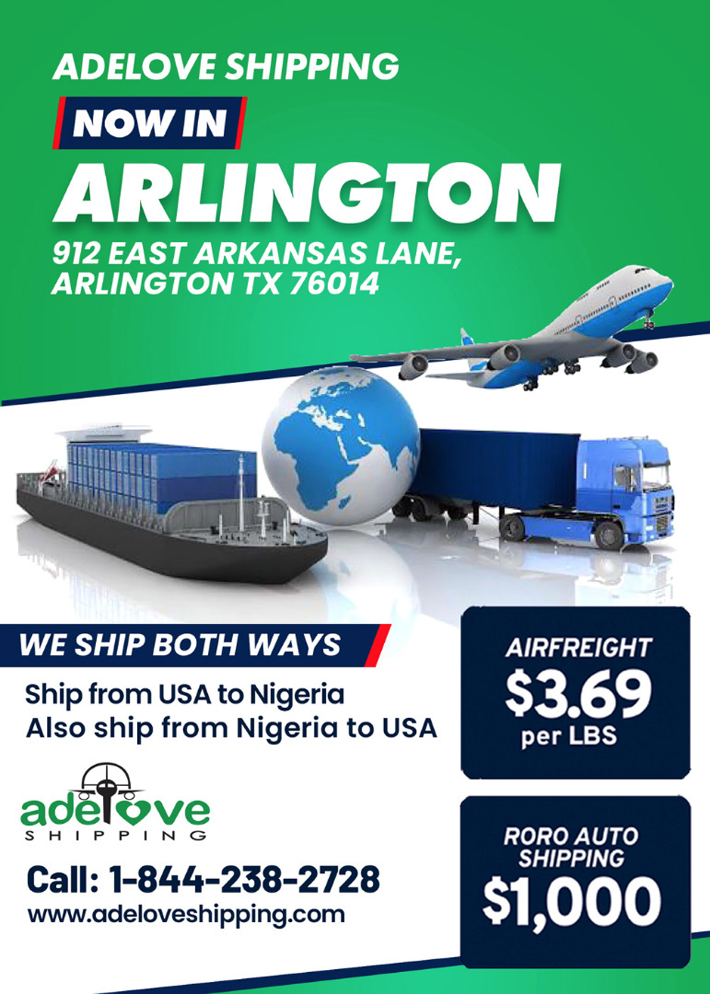 Adelove Shipping now in Arlington Texas ; See other Locations