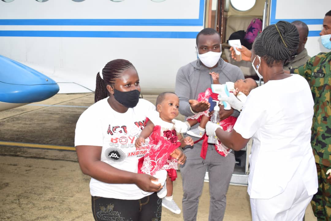 NAF airlift's erstwhile conjoined twins back to Yenagoa after Separation surgery at FMC, Yola