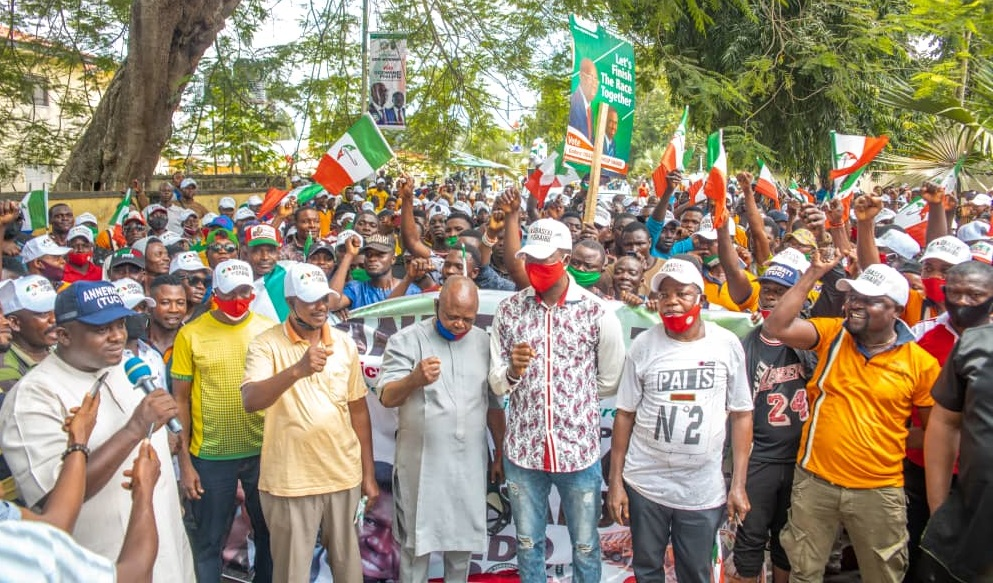 Over 1,000 tricycle, motorcycle operators throng Benin streets, endorse Obaseki for second term