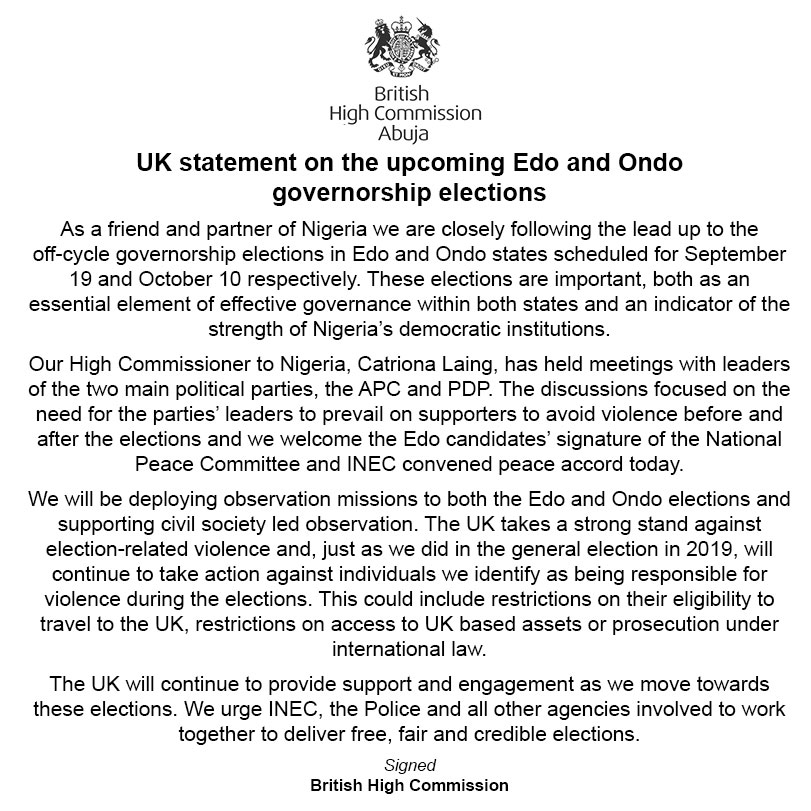 UK threatens sanctions over violence in Edo, Ondo elections