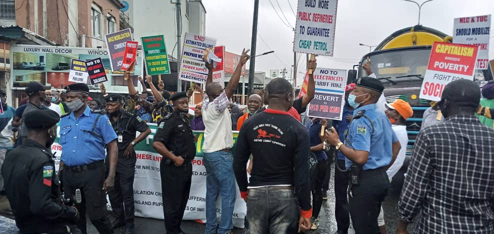 Nigerians protest against fuel, electricity increment, anti-people policy in Ojuelegba