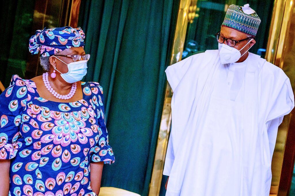 Buhari, DG WTO, Okonjo-Iweala meet in Aso Rock