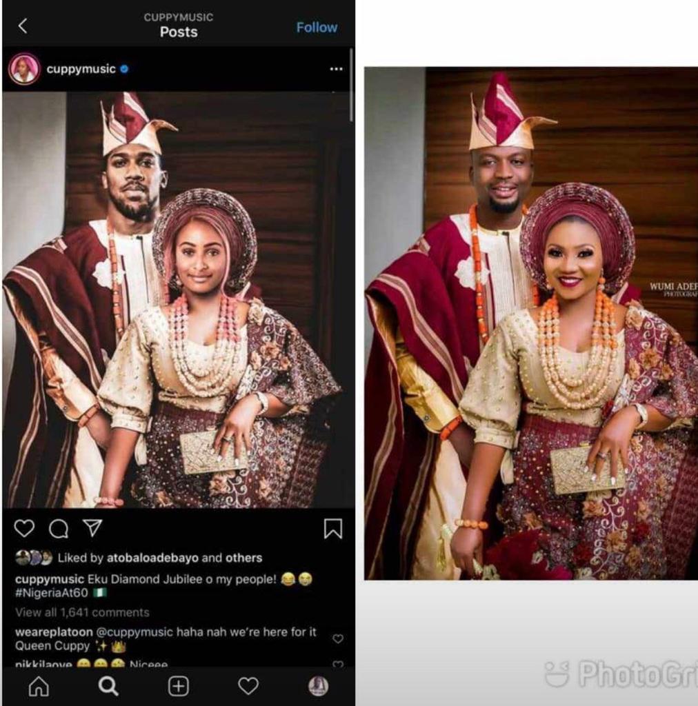 DJ Cuppy, Anthony Joshua wedding photoshop: Real bride reacts