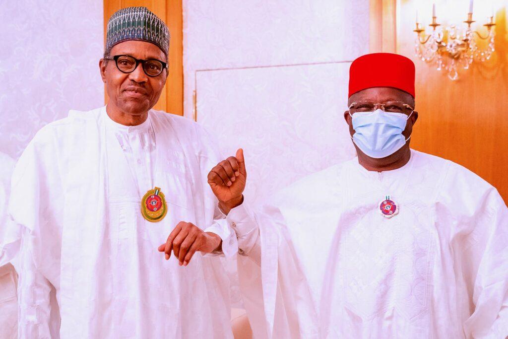 Defection: APC leadership presents Umahi to President Buhari at Aso Villa