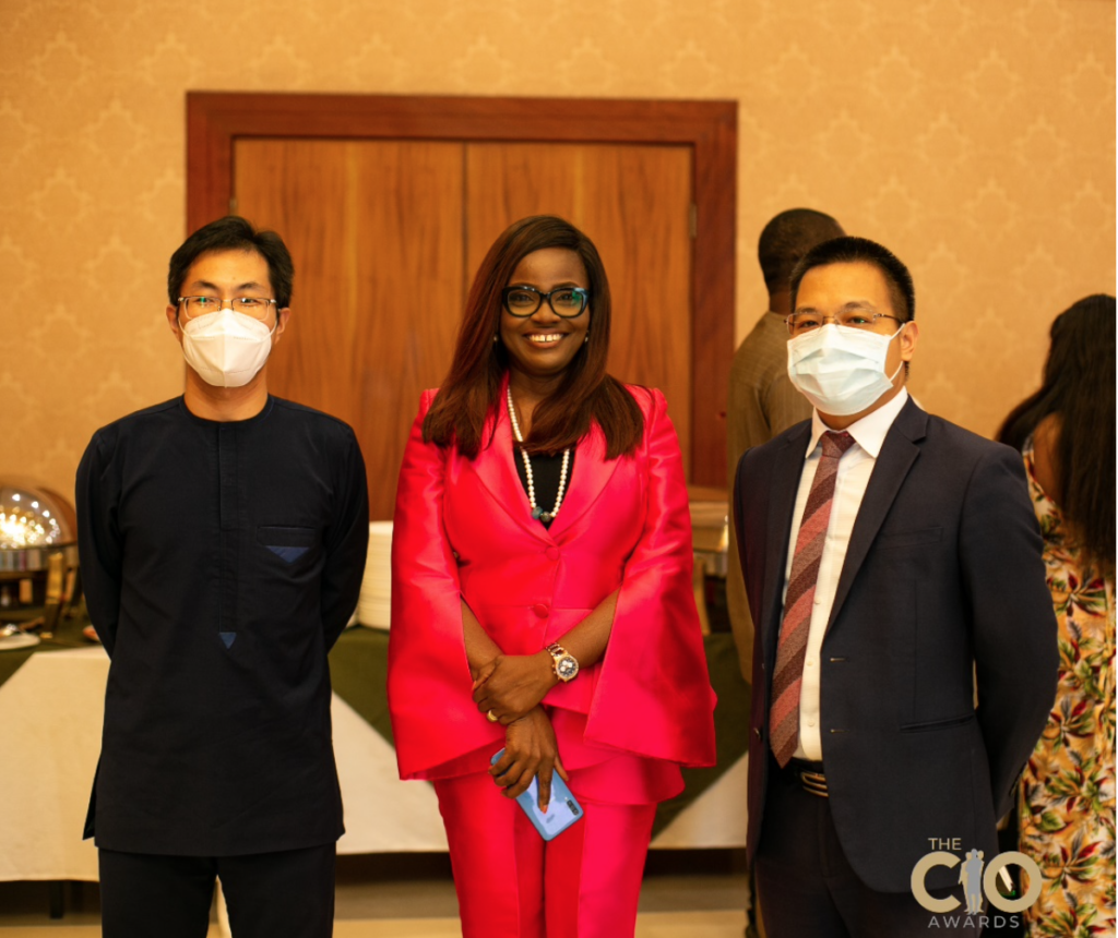 L-R: Nick Zhu, FSI Director; Abiola Laseinde, CEO Edniesal Consulting Limited and  Ken Zhao, Huawei Technologies Enterprise Deputy Managing Director (DMD)