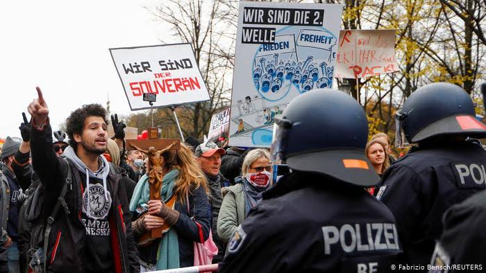 Hundreds protest against coronavirus restrictions in Germany