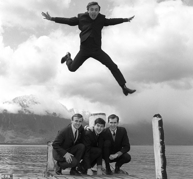 Gerry And The Pacemakers: From left—Les Maguire, Freddie Marsden, Gerry Marsden (and inset), and Les 'Chad' Chadwick in London in 1964.