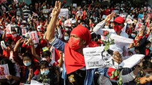 More protests after Myanmar junta cuts internet, deploys troops