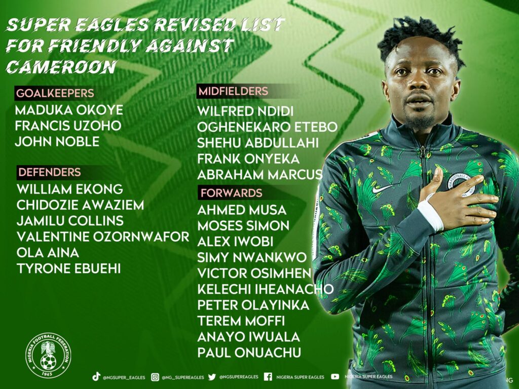 Moffi, Simy, get Super Eagles call-up as Rohr picks 24-man squad for Cameroon clash